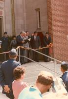Claude Pepper at the dedication and ribbon cutting of the Mildred and Claude Pepper Library