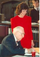 Claude Pepper signing an autograph at the opening of the Mildred and Claude Pepper Library