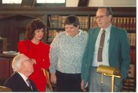 Claude Pepper talking to guests at the dedication of the Mildred and Claude Pepper Library