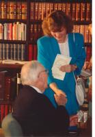 Claude Pepper shaking hands with a guest at the opening of the Mildred and Claude Pepper Library