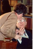 Claude Pepper talking to a guest at the opening of the Mildred and Claude Pepper Library