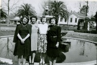 Four FSCW Students Standing Next to Westcott Fountain