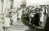 Crowd of Students In Front of the First Baptist Church