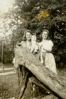 Two Students Standing Behind a Tree Stump