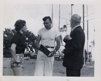 Sue Herndon, Jim DeCosmo, and a CBS Television Network Official at the Circus Lot on Call Street