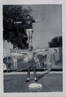 Sue Herndon and Gail Porter Demonstrating a Balancing Pose at the Circus Lot on Call Street