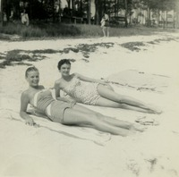 Marlies Gessler Sunbathing at the Beach with a Friend