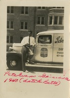 Pete Evans Pictured with His Truck In Front of a University of Florida Dormitory