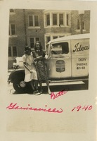 Elizabeth (Bette) Evans with a Friend In Front of Pete Evans' Truck on the University of Florida Campus.