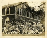 Elizabeth (Bette) Evans In a Coed SAE Group Photo In Front of a House on the University of Florida Campus