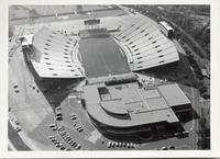 Aerial view of Doak Campbell Stadium with athletic offices in foregound