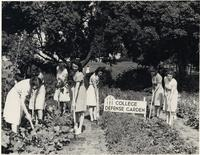 Florida State College for Women students planting a garden on campus