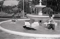 Man and woman in westcott fountain with dog