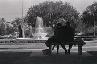 Man and woman sitting by westcott fountain