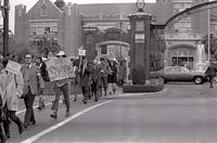 Student protesters marching from westcott