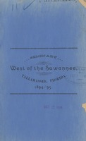 Catalogue of the Seminary West of the Suwannee River for the Session of 1894-95 and announcement for Session of 1895-96