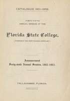 Forty-Fifth Annual Session of the Florida State College. Catalogue 1901-1902. Announcement Forty-sixth Annual Session, 1902-1903