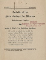 Bulletin of the State College for Women: Speaking in Behalf of the Constitutional Amendement
