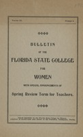 Bulletin of the Florida State College for Women with Special Announcements of Spring Review Term for Teachers