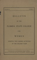 Bulletin of the Florida State College for Women Showing the Various Activities of the College Year
