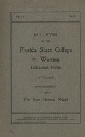 Bulletin of the Florida State College for Women: Announcement of the State Normal School