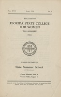 Bulletin of Florida State College for Women : Announcements State Summer School (Co-educational)