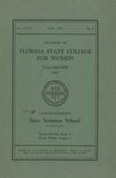 Bulletin of the Florida State College for Women: Announcements State Summer School (co-educational)