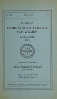 Bulletin of Florida State College for Women: Announcements State Summer School (Co-Educational)