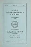 Bulletin of Florida State College for Women: Announcements College Summer School (Co-Educational)