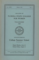 Bulletin of the Florida State College for Women: Announcements College Summer School (Co-Educational)