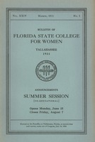 Bulletin of Florida State College for Women: Announcements Summer Session (Co-Educational)