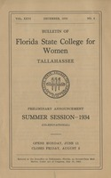 Bulletin of Florida State College for Women: Preliminary Announcement Summer Session = 1934 (Co-Educational