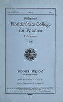 Bulletin of Florida State College for Women: Summer Session