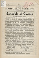 Bulletin of Florida State University, Schedule of Classes: Summer Session 1947