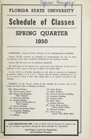 Florida State University Schedule of Classes: Spring Quarter 1950