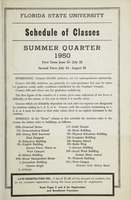 Florida State University Schedule of Classes: Summer Quarter 1950