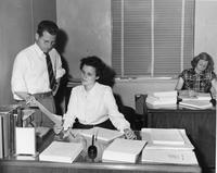 John Barry, Doris Harding, and Mrs. Buss in office
