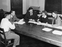 Dallas Albritton, Dr. Doyle, Mr. Eikman, Roberta Heford, and Carl Beeler in discussion