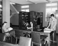 Five students in library