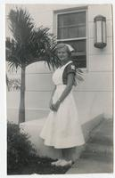 Student standing outside in nursing uniform