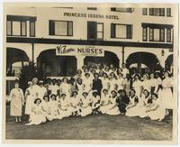 Group of nurses outside hotel at Nurses Association Convention