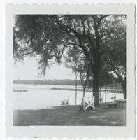 Picnic tables in front of lake at FSU Reservation
