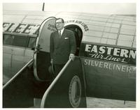 Claude Pepper deplaning from Eastern Airlines plane