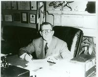 Claude Pepper at desk in his Senate office