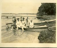 Several people in a canoe