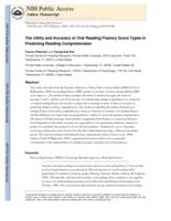 utility and accuracy of oral reading fluency score types in predicting reading comprehension.