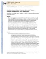 Relations among student attention behaviors, teacher practices, and beginning word reading skill.