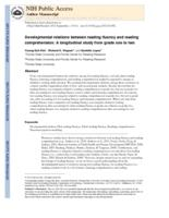 Developmental relations between reading fluency and reading comprehension