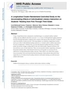 longitudinal cluster-randomized controlled study on the accumulating effects of individualized literacy instruction on students' reading from first through third grade.