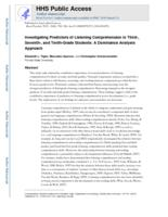 Investigating Predictors of Listening Comprehension in Third-, Seventh-, and Tenth-Grade Students